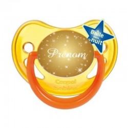 Tétine personnalisée paillettes d'or avec le prénom de l'enfant