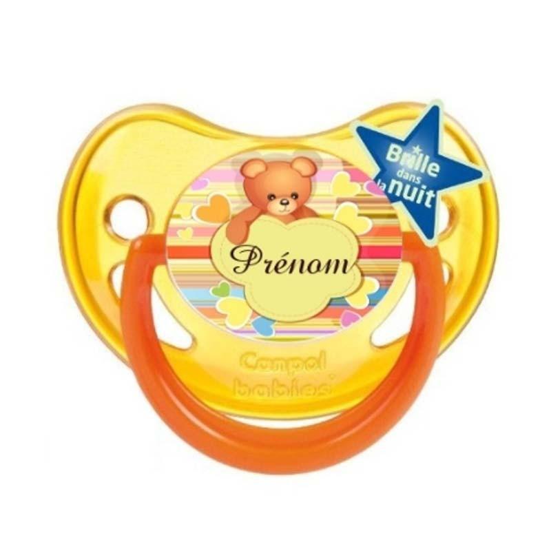 Tétine personnalisée ourson et cœurs avec le prénom de l'enfant