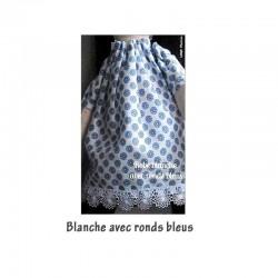 Robe blanches avec ronds bleus