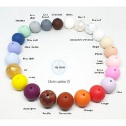 Couleurs disponibles perles rondes 19 mm- Collier de portage ou d'allaitement bébé/maman au choix.