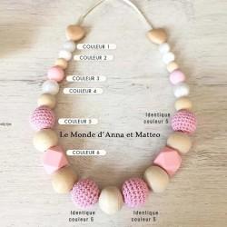 Collier de portage personnalisable pour bébé ou d'allaitement avec perles crochets et hexagonales