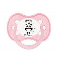Tétine personnalisable panda princesse rose étoiles