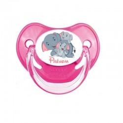 Tétine personnalisable maman éléphant et ses bébés