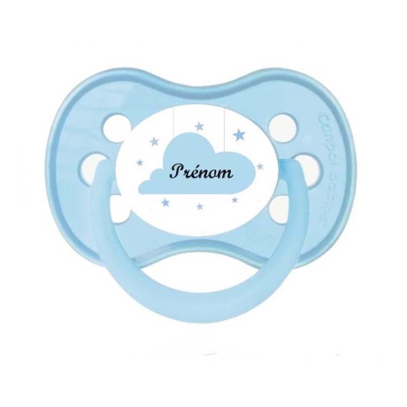 Tétine personnalisable nuage bleu pastel au prénom de l'enfant