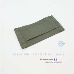 masque en tissu de protection couleur uni kaki catégorie 1 AFNOR