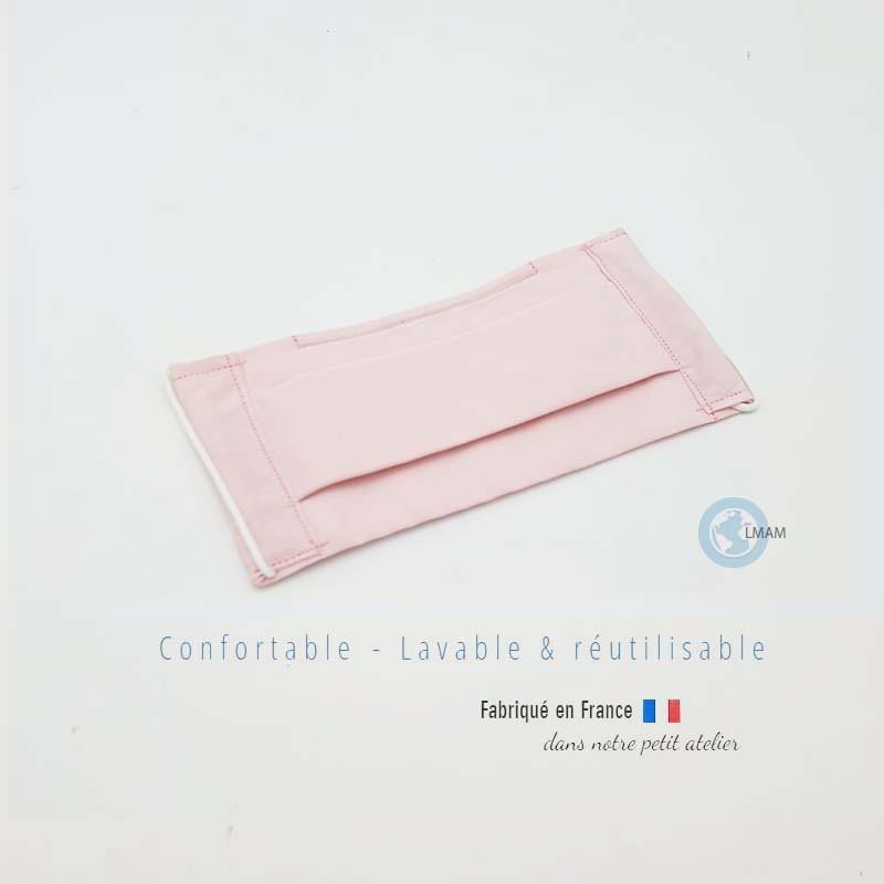 masque en tissu de protection couleur uni rose catégorie 1 AFNOR