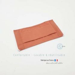 masque en tissu de protection couleur uni terracotta catégorie 1 AFNOR