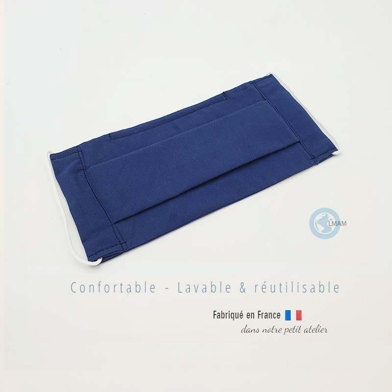 masque en tissu de protection couleur uni bleu catégorie 1 AFNOR