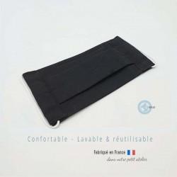 masque en tissu de protection couleur uni noir catégorie 1 AFNOR