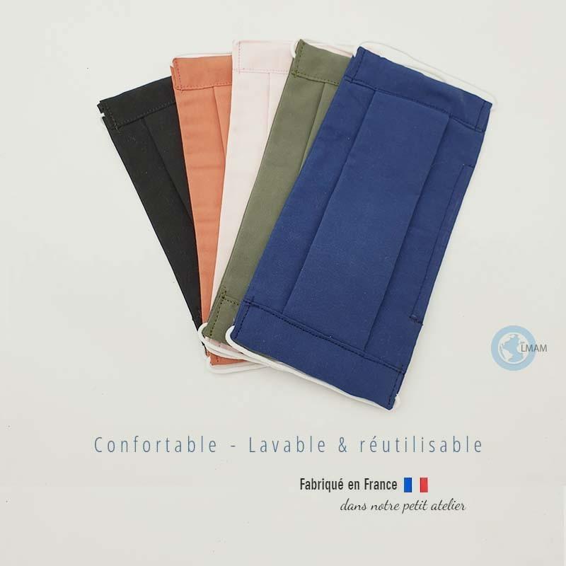 lots de 4 masques en tissu de protection couleur unis kaki rose bleu noir catégorie 1 AFNOR