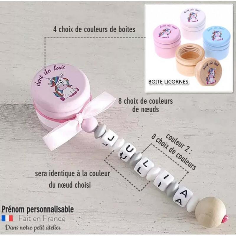 Boite dents de lait bébé licornes personnalisable prénom de l'enfant couleurs unis.