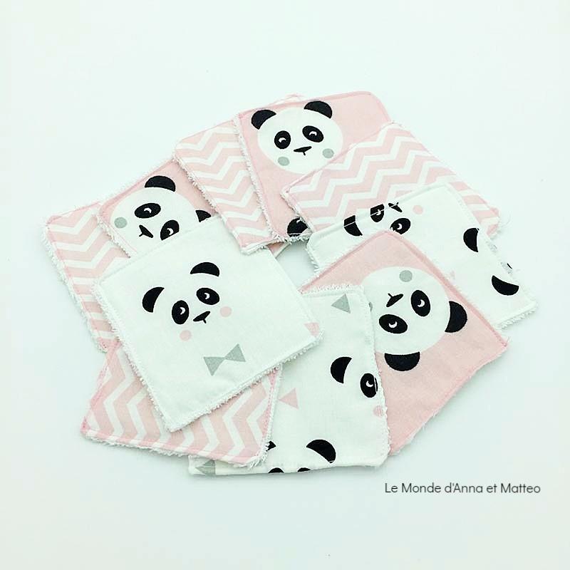 Lingettes lavables bébé - zéro déchet - 8 x 8 cm.