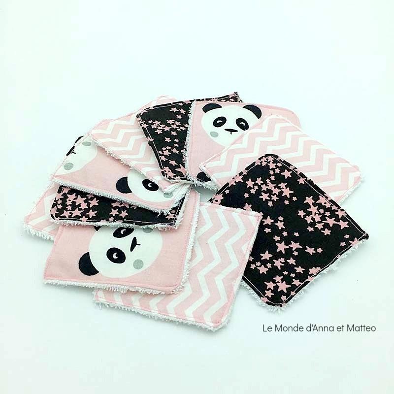 Lingettes lavables bébé panda rose foncé - 8 x 8 cm