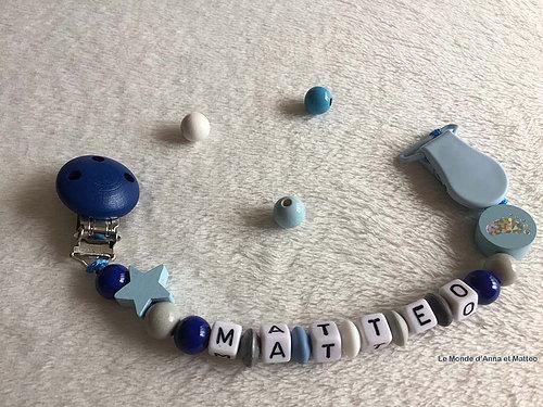 attache tétine et attache doudou perle artisanal fait main