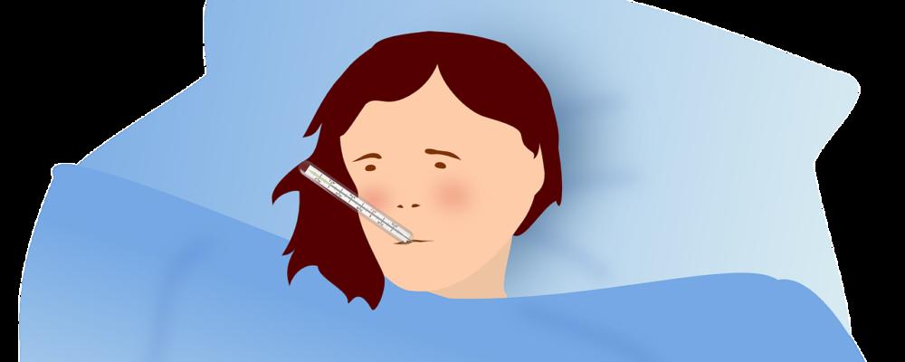 femme au lit avec un thermomètre dans la bouche à cause de la grippe